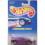 Hot Wheels Lamborghini Diablo #22 Purple with 5 Dot Wheels on Blue and White Card