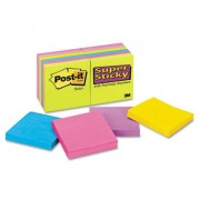 3M 65412Ssuc Super Sticky Notes 3 X 3 Five Ultra Colors 12 90-Sheet Pads Pack