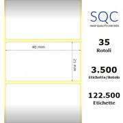 Etichette SQC - Carta termica protetta (bobina), formato 40 x 21