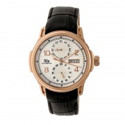 Reign Cascade Automatic Leather-Band Watch w/Day/Date - Rose Gold/Silver REIRN4405