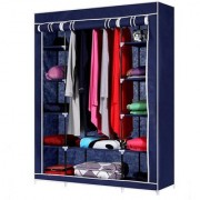 House of Quirk Cotton Collapsible Double Side Wardrobe (Finish Color - Blue)
