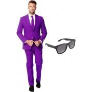 Paars heren kostuum / pak - maat 56 (XXXL) met gratis zonnebril