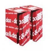 Scatole per archivio in cartone Dox Dox&Dox - 359463 Scatole per documenti in cartone 36,5x26,5x17,5 cm formato utile 35x25 cm dorso 17,5 cm con chiusura a scomparsa di colore rosso in confezione da 12 Pz.