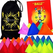 5x Tri-It Juggling Balls - Set of 5 Pyramid Juggling Sacks Bean Bags For Kids & Adults, with Mister Babache Ball Juggling Book of tricks + Fabric Travel Bag! (Mix)