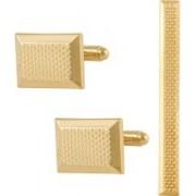 Tripin Brass Cufflink & Tie Pin Set(Gold)