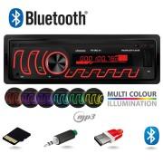 Radio MP3 Player Auto 1DIN cu Bluetooth, Iluminat LED Multicolor, Microfon Incorporat, Putere 4x45W, FM/USB/LED/Card MicroSD/AUX