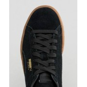 Puma Black Suede Classic Trainers With Gum Sole - Black