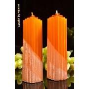 Candles by Milanne Marina kaars, KOPER METALLIC, 2 STUKS h: 21 cm - kaarsen