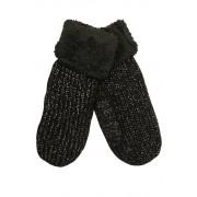 Emi Ross dámské pletené palčáky s kožíškem černá