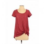 Simply Vera Vera Wang Short Sleeve Top Red Solid Scoop Neck Tops - Used - Size X-Small