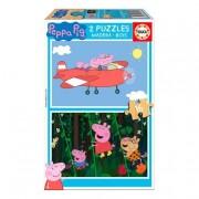 Educa Borrás - Peppa Pig - Puzzle de Madera 2x16 Piezas