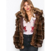 NLY Trend Puffy Fur Coat Faux Fur Brun