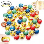48Pcs Emoji Stress Balls, Stress Reliver Party Favors Emoji Face Squeeze Foam Ball Toys for Kids Adults Birthday, Holiday, Therapy Gift with 4 Sheets Emoji Stickers