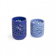 Kave Home Conjunto Leti de 2 castiçais azuis