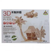 Wooden 3D Puzzle Board Games - Dai Bamboo Houses C (1c637) - Jigsaw Toys, Puzzles & Logical Games