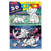 Melissa & Doug Easy to See 3D Marker Coloring Safari Ocean Puzzle, Multi Color (24 Pieces)
