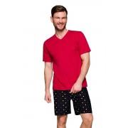 Boris férfi pamut pizsama, borvörös 3XL