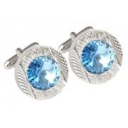 Mousie Bean Crystal Cufflinks Round 70's 083 Aqua