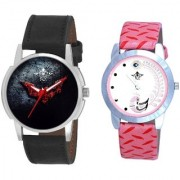 Black - Red Fancy Dial And Pink Peacock Colour Couple Casual Analogue Watch By Vivah Mart