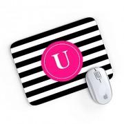 Mouse Pad Monograma Rosa Listrado Preto Inicial U 24x20