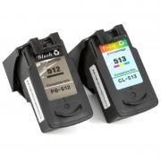 ZipZap PG-510/CL-511 Pack 2 Cartuchos Compatibles Canon Negro/Tricolor