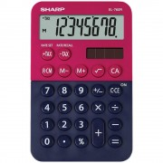 Calculator de buzunar, 8 digits, 119 x 75 x 17 mm, dual power, SHARP EL-760R-RB - rosu/bleumarin