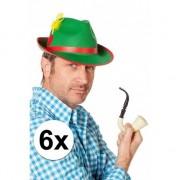 Geen Oktoberfest - 6x stuks Oktoberfest Tiroler feest hoedjes groen