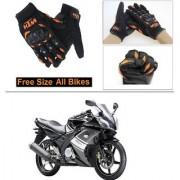 AutoStark Gloves KTM Bike Riding Gloves Orange and Black Riding Gloves Free Size For Yamaha YZF R15 S