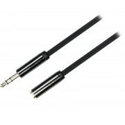 Deltaco ljudkabel, 3,5mm hane till 3,5mm hona, 1m, svart