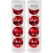 Merkloos 8x Glazen kerstballen met sneeuwvlok print 6 cm - Kerstbal