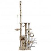 vidaXL Arranhador para gato com 1 gatera + estampo de pata, 220-240 cm, bege