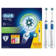 Periuta de dinti electrica Oral-B Pro 690 Duo, pachet 2 periute electrice