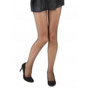 Deguisetoi Collants résille large noir femme - Taille: XL