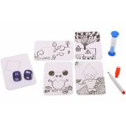Joc interactiv Inventeaza o poveste, 36 de carduri cu forme, 2 zaruri, 1 clepsidra