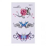 Rrimin 10pcs 3D Butterfly Flower Temporary Tattoo Stickers Waterproof Body Art (S046)