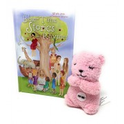 Bible-Time Stories and Rhymes Children's Gift Set with Bible Story Book and Talking Prayer Bear Plush Toy (Pink)