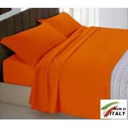 Completo Lenzuola Letto Francese Prodotto in Italia Cotone ARANCIO