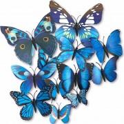 Set 12 Mariposas Azules Para Decoracion Con Iman