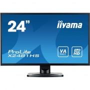 Monitor Iiyama LED 23.6'' X2481HS-B1 Full HD, 6ms, DVI-D, HDMI, boxe, Negru