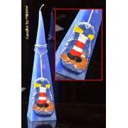 kaarsen: Zee kaars, BLAUW, met vuurtoren, piramide 30 cm