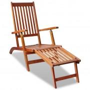 vidaXL Espreguiçadeira c/ apoio de pés para jardim madeira de acácia