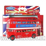 Diecast Metal London Double Decker Routemaster Bus - Pull Back & Go Action