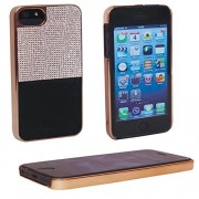 "iPhone 6 4.7"" (Black), Exclusive Designer Sparkling Diamond Stones with PU Leather Hard Back Case Cover"