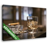Pohár whisky és cigaretta (40x25 cm, Vászonkép )