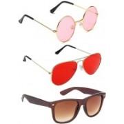 Elgator Aviator, Round, Wayfarer Sunglasses(Pink, Red, Brown)