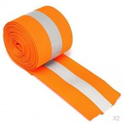 ELECTROPRIME 2 x 3Meter Silver Reflective Tape Safty Strip Sew-on Lime Synth Fabric Orange