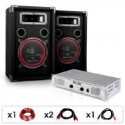 "Electronic-Star Equipo DJ PA ""DJ 15""Amplificador, Altavoces, 1000W (PL-4833-2679)"