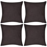 vidaXL 4 Brown Cushion Covers Cotton 40 x cm