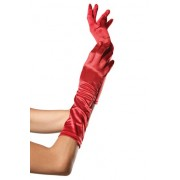LEG AVENUE GUANTES SATINADOS DE COLOR ROJO U