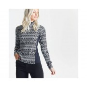Swarovski Embellished - Women's Immortal Half Zip Luxe Sweater Black White